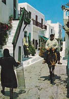 Postcard Crete Man On Donkey In Street 1988 Stamp My Ref  B23078 - Greece