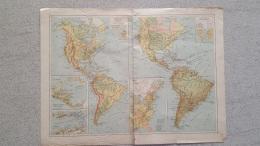 CARTE AMERIQUE PHYSIQUE ET PAR BASSINS RECTO VERSO  IMP LEMERCIER - Cartes Géographiques