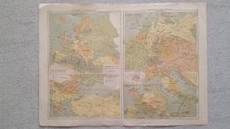 CARTE  EUROPE CENTRALE  GUERRES D'ORIENT ALLEMAGNE  RECTO VERSO  42 X 31 CM - Cartes Géographiques