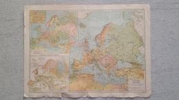 CARTE  EUROPE POLITIQUE ET HYDROGRAPHIQUE RECTO VERSO  42 X 31 CM - Geographical Maps