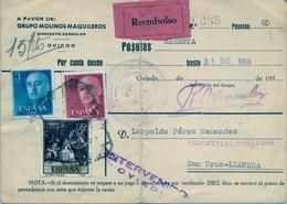 "1960 , ASTURIAS , TARJETA DE REEMBOLSO , OVIEDO - SANTA CRUZ DE LLANERA , "" INTERVENIDO / OVIEDO "" , MOLINOS MAQUILEROS - 1951-60 Storia Postale"