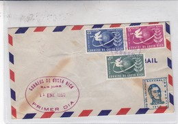 FDC CORREOS DE COSTA RICA. AÑO DEL LIBERTADOR GENERAL SAN MARTIN 1950. 3 COLOURS STAMPS. COSTA RICA- BLEUP - Costa Rica
