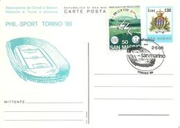 "1145 "" PHIL - SPORT TORINO '86 - SAN MARINO - 2/5/86""  CARTOLINA POSTALE ORIG.  NON SPEDITA - Briefmarkenausstellungen"