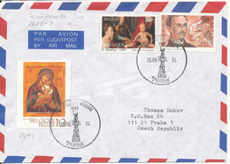Belgium Air Mail Cover Sent To Czech. Republic Brüssel 26-8-1994 Topic Stamps - Belgium