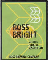 BOSS BREWING CO (SWANSEA, WALES) - BOSS BRIGHT - PUMP CLIP FRONT - Signs