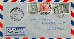 1952 , CANARIAS , SOBRE CIRCULADO , CORREO AÉREO , TACORONTE ( TENERIFE ) - AVILÉS , ED. 1045 , 1051 , 1097 - 1931-Heute: 2. Rep. - ... Juan Carlos I