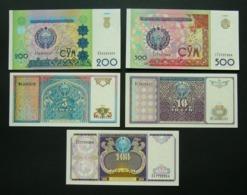 Uzbekistan 5, 10, 100, 200 E 500 Sum 1994 1997 1999 UNC FdS 5x Pcs Set - Uzbekistán
