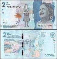 Colombia P458, 2000 Peso, Artist Débora Pérez / Caño Cristales River, Bird 2015 - Colombia