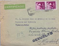 1955 , CÓRDOBA , CERTIFICADO A VILLA CISNEROS , REDIRIGIDO , DEVUELTO , DIVERSAS MARCAS AL DORSO - 1931-Hoy: 2ª República - ... Juan Carlos I