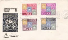 FDC-CENTENARIO DEL PRIMER SELLO POSTAL  1965. ECUADOR- BLEUP - Equateur