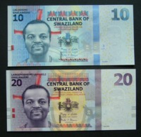 Swaziland 10 E 20 Emalangeni 2014 UNC 2x Pcs Set AA Series - Swaziland