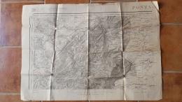 CARTE DOUBS PONTARLIER ORNANS SERVICE GEOGRAPHIQUE DE L'ARMEE TYPEE 1889 AVEC CACHET  74 X 53 CM - Geographical Maps