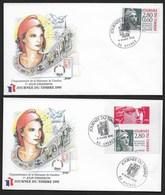 FRANCE 1995 2 FDC N° 2933 Et 2934 JOURNEE DU TIMBRE CàD Illustré De HYERES (83) MARIANNE GANDON - FDC