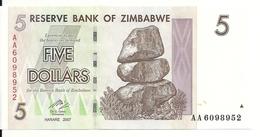 ZIMBABWE 5 DOLLARS 2007 UNC P 66 - Zimbabwe