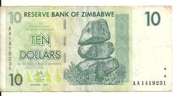 ZIMBABWE 10 DOLLARS 2007 VF P 67 - Zimbabwe