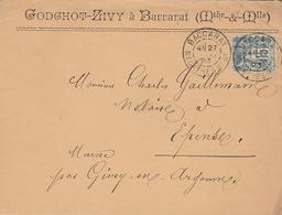 LAC 1893 - Entête GODGHOT-ZIVY à Baccarat (Meurthe Et Moselle) Timbre Type Sage Et Timbre Quittance Sur Lettre - 1877-1920: Période Semi Moderne