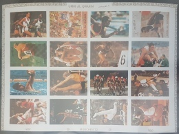 GL - UMM AL-QIWAIN 1972 Mi. 938B-953B Olympic Games Munich DELUXE SHEET (Cartoon) IMPERFORATED - MNH - Umm Al-Qiwain