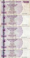 ZIMBABWE 750000 DOLLARS 2007 VF P 52 ( 5 Billets ) - Zimbabwe