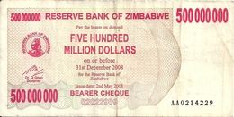 ZIMBABWE  500 MILLION  DOLLARS BEARER CHEQUE 2008 VF P 60 - Zimbabwe