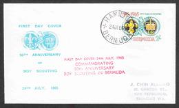 Bermuda - First Day Cover - Scott #198 - Boy Scouts - 50th Anniversary - Bermudes
