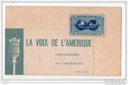 """V O A . LA VOIX DE L'AMÉRIQUE VOUS PRÉSENTE SES COMPLIMENTS . TIMBRE """" ATOMS FOR PEACE """" - Réf. N°2524 - - Programmi"""
