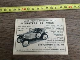 PUB PUBLICITE NOREV MINIATURES 5 HP CITROEN MODELE 1919 - Vieux Papiers