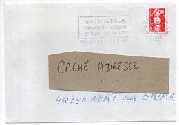 """VALENCE CT - Drôme - 1991 --flamme Temporaire """" SAOU Et La Drôme Chantent Mozart""""  -type Marianne Bicentenaire - Marcophilie (Lettres)"""