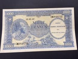 REP DEM CONGO P2 1000 FRANCS 1962 XF - Demokratische Republik Kongo & Zaire