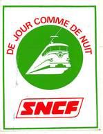 P-jmt1-18-5387 :  AUTOCOLLANT. SNCF DE JOUR COMME DE NUIT - Advertising