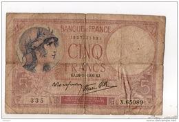 """FRANCE . 5 FRANCS . TYPE """" VIOLET """" 26-10-1939 - Réf. N°11009 - - 1871-1952 Antiguos Francos Circulantes En El XX Siglo"""