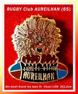 SUPER PIN'S RUGBY : Visuel LION Pour Le RUGBY Club D'AUREILHAN (65), émaillé Grand Feu, Format 2X2,2cm - Rugby