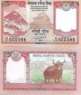 Nepal P76, 5 Rupee, Mt Everest, Temple, Coin / Yak, 2017, UNC See UV - Nepal