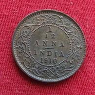 British India 1/12 Anna 1910 KM# 498   Inde Indie Indien - Inde