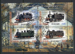 Chad 2013 Steam Trains, Locomotives MS CTO - Chad (1960-...)