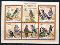 Comoro Is 2009 Birds, Parakeets MS MUH - Komoren (1975-...)