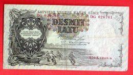 LATVIA LETTLAND 10 LATU 1940 P.29e FISHERMEN 342 - Latvia