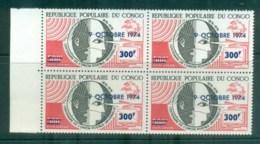 Congo 1974 Centenary Of UPU Opt Blk 4 MUH Lot76337 - Other