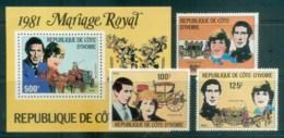 Ivory Coast 1981 Charles & Diana Royal Wedding + MS MUH Lot81938 - Ivory Coast (1960-...)