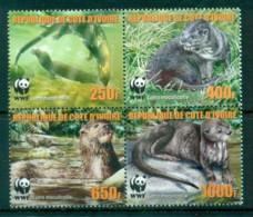 Ivory Coast 2005 WWF Speckle Throated Otter Blk 4 MUH Lot76222 - Ivory Coast (1960-...)