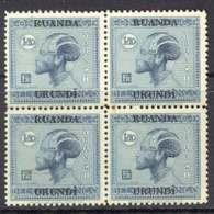Ruanda-Urundi 1927 1fr50c Ubangi Man Block 4 MUH Lot7317 - Ruanda-Urundi