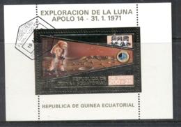 Equatorial Guinea 1971 Moon Exploration Gold Foil Embossed MS CTO - Equatorial Guinea