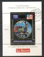 Equatorial Guinea 1972 Japan Trains Gold Foil Embossed MS CTO - Equatorial Guinea