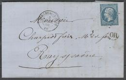 Côte D'Or:  P.c.2007 Sur N°14A + CàD MIREBEAU-S-BEZE(20) Sur LAC De 1859 (origine FORGES DE BEZE) - Marcophilie (Lettres)