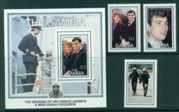 Gambia 1986 Andrew & Sarah Wedding + MS MUH Lot30339 - Gambia (1965-...)
