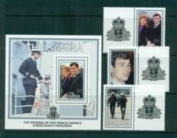 Gambia 1986 Royal Wedding, Andrew & Sarah + MS MUH Lot73178 - Gambia (1965-...)