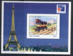 Gambia 1999 Trains, Early Railroads, Philexfrance, Road-Railer MS MUH - Gambia (1965-...)
