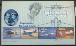 Gambia 2003 History Of Aviation Sheetlet MUH - Gambia (1965-...)