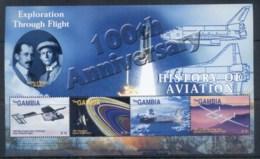 Gambia 2003 History Of Aviation, Rxploration Through Flight Sheetlet MUH - Gambia (1965-...)