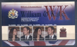 Gambia 2011 Royal Engagement William & Kate #1112 D30 MS MUH - Gambia (1965-...)