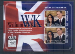 Gambia 2011 Royal Engagement William & Kate #1112 D40 MS MUH - Gambia (1965-...)